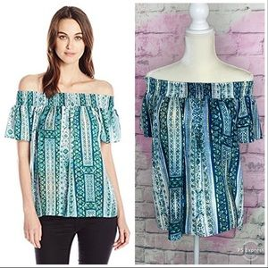 Greylin smocked off the shoulder green blue top S